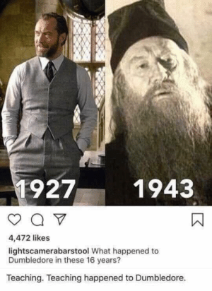16 years: 1927  1943  4,472 likes  lightscamerabarstool What happened to  Dumbledore in these 16 years?  Teaching. Teaching happened to Dumbledore. 16 years