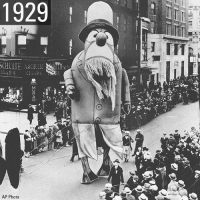 A TRADITION SINCE 1924: Here's a look at some of the balloons, dancers, and floats from bygone eras of the @macys Thanksgiving Day Parade. Thanksgiving HappyThanksgiving NewYork NewYorkCity: 1929  SCHULTE ASCHLLIE S  GARS CIGARS  2  AP Photo A TRADITION SINCE 1924: Here's a look at some of the balloons, dancers, and floats from bygone eras of the @macys Thanksgiving Day Parade. Thanksgiving HappyThanksgiving NewYork NewYorkCity