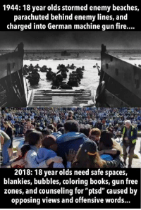 "Books, Fire, and Free: 1944: 18 year olds stormed enemy beaches,  parachuted behind enemy lines, and  charged into German machine gun fire...  2018: 18 year olds need safe spaces,  blankies, bubbles, coloring books, gun free  zones, and counseling for ""ptsd"" caused by  opposing views and offensive words... Juvenoia (xpost from r/terriblefacebookmemes)"