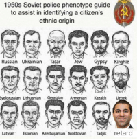 Police, True, and Armenian: 1950s Soviet police phenotype guide  to assist in identifying a citizen's  ethnic origin  Russian Ukrainian Tatar Je Gypsy Kirghiz  velorussian Lithuanian Geoglan Armenian Kazakh Uzbek  Latvian Estonian Azerbaijanian Moldovian jk retard <p>True</p>