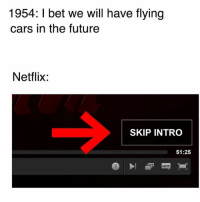 This button come so clutch. The amount of time I have saved from using that button when I binge watch 🙏 • Follow @savagememesss for more posts daily: 1954: I bet we will have flying  cars in the future  Netflix:  SKIP INTRO  51:25 This button come so clutch. The amount of time I have saved from using that button when I binge watch 🙏 • Follow @savagememesss for more posts daily