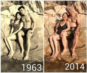 hotsuburbandad:  This is fake. They haven't been sat on that rock for 50 years. If you look closely you can clearly see her swimsuit is different in the second photo, it has stripes on it. And the guy's shorts seem to have a more floral pattern in the latter photo.Also, if someone sat on a rock for 50 years, it would have made the news. My theory is, they simply returned to the same location 50 years later, and recreated the original photo. : 1963  2014 hotsuburbandad:  This is fake. They haven't been sat on that rock for 50 years. If you look closely you can clearly see her swimsuit is different in the second photo, it has stripes on it. And the guy's shorts seem to have a more floral pattern in the latter photo.Also, if someone sat on a rock for 50 years, it would have made the news. My theory is, they simply returned to the same location 50 years later, and recreated the original photo.