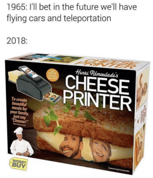 "A grim future. by lloydyhats MORE MEMES: 1965: I'll bet in the future we'll have  flying cars and teleportation  2018:  Henzi Rémoulades  CHEESE  PRINTER  To create  beautiful  meals for  your family,  just say  ""Cheese!""  Henni  BUY A grim future. by lloydyhats MORE MEMES"