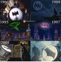 Memes, 🤖, and Brand: 1966  1995  2005  O CTHEBAT BRAND  1989  1997  2001 Different variations of the bat signal. Which is your favorite?