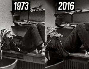 Bill Gates, Omg, and School: 1973  2016 omg-humor:  In 2016, Bill Gates recreated his high school yearbook photo from 1973