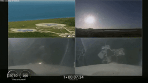 Falcon, Side, and  Heavy: 19780 166  T+00:07:34 Falcon Heavy side boosters landing in sync