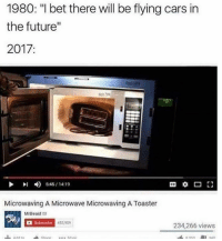 """Cars, Dank, and Future: 1980: """"I bet there will be flying cars in  the future""""  2017  l 5:45/14:19  Microwaving A Microwave Microwaving A Toaster  MrBeast  2  Subscribe 453,909  234,266 views"""