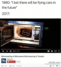 """Cars, Future, and I Bet: 1980: """"I bet there will be flying cars in  the future""""  2017  4) 5:45 14:19  Microwaving A Microwave Microwaving A Toaster  MrBeast  Subscribe  453909  234,266 views  Add to  Share More  OI 340  B 853"""