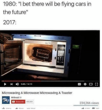 """Microwaving A Microwave Microwaving A Toaster: 1980: """"I bet there will be flying cars in  the future  2017  1230  4)  5:45 / 14:19  Microwaving A Microwave Microwaving A Toaster  MrBeast  Subsoribe  53,909  234,266 views"""