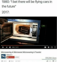 """Microwaving A Microwave Microwaving A Toaster: 1980: """"I bet there will be flying cars in  the future""""  2017  4)  5:45 / 14:19  Microwaving A Microwave Microwaving A Toaster  MrBeast  Subsoribe 45  453,909  234,266 views"""