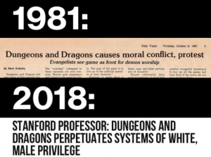 "Protest, The Game, and Tumblr: 1981  Daily Trojan  Thursday, October 8, 1981  3  Dungeons and Dragons causes moral conflict, protest  Evangelists see game as front for demon worship  ty-The goal of the game is to  live up to the artificial morali.  By Mark Ordesky  The ""monsters"" contained in  these manuals are evil ene.  domy, rape, and other perverse  acts of sexuality.""  another evangelist threatened  to buy up all the games and  burn them if the stores did not  Dungeons and Dragons the mies. Players gain experience ty of your character  Players vehemently deny  2018:  STANFORD PROFESSOR: DUNGEONS AND  DRAGONS PERPETUATES SYSTEMS OF WHITE.  MALE PRIVILEGE ranty9000: insaneartistoflegacysystems:   We do this with videogames too  It's not even every couple years now,  it's every couple months!   We keep forgetting history and dooming ourselves to repetition because our government and companies would rather use the same scape-goats to hide or fuel their own agendas than to fix the actual problems! We're stuck in a political groundhogs day!"