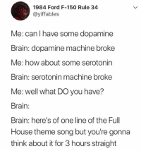 Brain, Ford, and Full House: 1984 Ford F-150 Rule 34  @yiffables  Me: can I have some dopamine  Brain: dopamine machine broke  Me: how about some serotonin  Brain: serotonin machine broke  Me: well what DO you have?  Brain:  Brain: here's of one line of the Full  House theme song but you're gonna  think about it for 3 hours straight