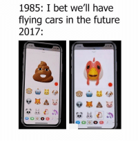 Animojies 😂: 1985: I bet we'll have  flying cars in the future  2017  1130 Animojies 😂