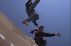 1987 Lethal Weapon Jump Scene. Mel had just handcuffed himself to the potential jumper. A few seconds later when they did jump, they were not attached to each other by handcuff. After they landed they were magically handcuffed again and then a officer unlocked Mel from the handcuffs.: 1987 Lethal Weapon Jump Scene. Mel had just handcuffed himself to the potential jumper. A few seconds later when they did jump, they were not attached to each other by handcuff. After they landed they were magically handcuffed again and then a officer unlocked Mel from the handcuffs.