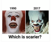 Which Pennywise was scarier? Old or new? 🤔🤡🎈 It @worldstar WSHH: 1990  2017  eko  Which is scarier? Which Pennywise was scarier? Old or new? 🤔🤡🎈 It @worldstar WSHH