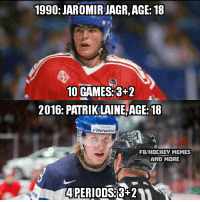 Hockey, Memes, and Break: 1990: JAROMIRJAGR,AGE:18  10 GAMES:3+2  2016: PATRIK LAINE AGE 18  FB/HOCKEY MEMES  AND MORE  APERIODS +24A Patrik Laine needed just 69 minutes to break Jaromir Jagr's record for most points by a U18 player at World Championships...  This kid is pretty good!