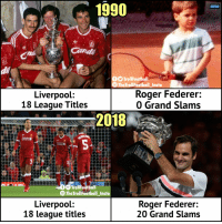 Roger Federer vs Liverpool https://t.co/y5rh8c2vMU: 1990  MENU  Cand  di  TrollFootball  9TheTrollFootball Insta  Liverpool:  18 League Titles  Roger Federer:  0 Grand Slams  2018  chartered 8  AD  TrollFootball  TheTrollFootball Insta  Liverpool:  18 league titles  Roger Federer:  20 Grand Slams Roger Federer vs Liverpool https://t.co/y5rh8c2vMU