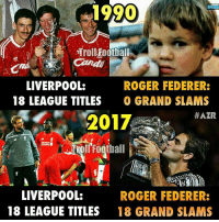 Sorry Liverpool fans 😂😂: 1990  Troll Football  LIVERPOOL:  ROGER FEDERER:  18 LEAGUE TITLES  O GRAND SLAMS  #AZR  2012  LIVERPOOL:  ROGER FEDERER:  18 LEAGUE TITLES  18 GRAND SLAMS Sorry Liverpool fans 😂😂