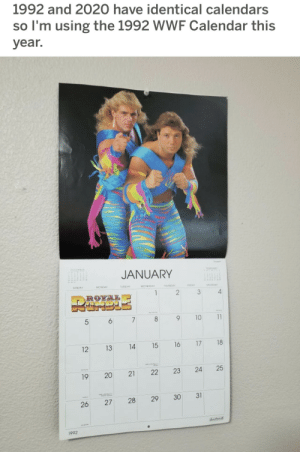 What were the chances?: 1992 and 2020 have identical calendars  so l'm using the 1992 WWF Calendar this  year.  JANUARY  SUNDAY  tASDAY  MONDAY  WEDNEDAY  THRDA  HDAY  SATURDAY  4.  ROYAL  9.  10  11  5  6  18  16  15  14  13  12  22  21  19  30  28  26  1992  25  17  24  31  23  29  20  27 What were the chances?