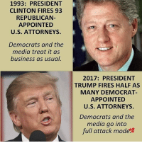 The liberal media hysteria wants all these anti-Trump riots. They want the whole left side to stand against presidential actions and orders not because they're bad, but because it's Trump who signs them. Most of Trump orders were already made by other presidents, and nobody cared then. And the only reason why the left is outraged now – Trump can't be bought. He isn't owned by the Establishment. This drives the left mad as hell, and that's exactly why we all voted for Trump. patriots americanpatriots politics conservative libertarian patriotic republican usa america americaproud peace nowar wethepeople patriot republican freedom secondamendment MAGA PresidentTrump: 1993: PRESIDENT  CLINTON FIRES 93  REPUBLICAN  APPOINTED  U.S. ATTORNEYS.  Democrats and the  media treat it as  business as usual  2017: PRESIDENT  TRUMP FIRES HALF AS  MANY DEMOCRAT  APPOINTED  U.S. ATTORNEYS.  Democrats and the  media go into  full attack mode. The liberal media hysteria wants all these anti-Trump riots. They want the whole left side to stand against presidential actions and orders not because they're bad, but because it's Trump who signs them. Most of Trump orders were already made by other presidents, and nobody cared then. And the only reason why the left is outraged now – Trump can't be bought. He isn't owned by the Establishment. This drives the left mad as hell, and that's exactly why we all voted for Trump. patriots americanpatriots politics conservative libertarian patriotic republican usa america americaproud peace nowar wethepeople patriot republican freedom secondamendment MAGA PresidentTrump