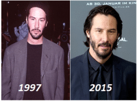 Keanu Reeves does not age...: 1997  UARIM KIN  AB 30.  AL.  2015 Keanu Reeves does not age...