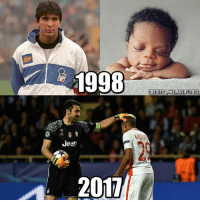 Friends, Memes, and Earth: 1998  Jeer  2017  CREDITS CaWE ARE FUTBOL Buffon & Mbappe 🏆 Tag Friends 👥 📷 @We.are.futbol Follow ➡ @footy.earth @footxfootball