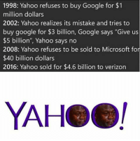"Google, Memes, and Microsoft: 1998: Yahoo refuses to buy Google for $1  million dollars  2002: Yahoo realizes its mistake and tries to  buy google for $3 billion, Google says ""Give us  $5 billion"", Yahoo says no  2008: Yahoo refuses to be sold to Microsoft for  $40 billion dollars  2016: Yahoo sold for $4.6 billion to verizon  YAHeel WordOnDaStreet FBF Yahoo"