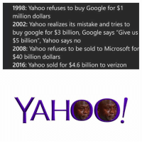 """👍👍: 1998: Yahoo refuses to buy Google for $1  million dollars  2002: Yahoo realizes its mistake and tries to  buy google for $3 billion, Google says """"Give us  $5 billion"""", Yahoo says no  2008: Yahoo refuses to be sold to Microsoft for  $40 billion dollars  2016: Yahoo sold for $4.6 billion to verizon  YAHeel 👍👍"""