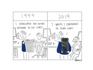 Evolution, Software, and Programmer: 1999  20 19  I DEVELOPED THE ENTIRE I WROTE 1 COMPONENT  ΓΙ SOFTWARE IN 120 LINES!  IN 10,000 LINES! Programmer evolution
