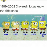 Memes, 🤖, and Day: 1999-2002 Only real niggas know  the difference  @niqgat  1999  20002002 2005 Dresent  day 🚨WARNING🚨do NOT follow @memezar if you're easily offended 😂 @memezar