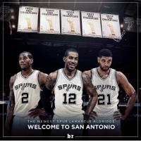 LaMarcus Aldridge is headed to the @spurs, reportedly on a 4-year, $80M deal.: 1999  2003  CHAMPIONS  2005  2007  CHAMPIONS  CHAMPIONS  2014  CHAMPIONS  CHAMPIONS  SAN ANTONIO SPURS  SAN ANTONIO SPURS  SAN ANTONIO SPURS  SAN ANTONIO S  URS  BAN ANTONIO SPUAS  21  THE NE WEST S PUR LA MARCUS ALD RIDGE  WELCOME TO SAN ANTONIO  br LaMarcus Aldridge is headed to the @spurs, reportedly on a 4-year, $80M deal.