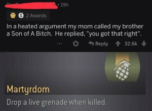 "F to the Oof by CiszTheOriginal MORE MEMES: 19h  S 2 Awards  In a heated argument my mom called my brother  a Son of A Bitch. He replied, ""you got that right"".  Reply  32.6k  Martyrdom  Drop a live grenade when killed. F to the Oof by CiszTheOriginal MORE MEMES"
