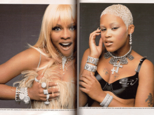 """2000notoriouskim:  Lil' Kim & Eve in the December '99/January '00 """"It's All About Ice"""" edition of Talk Magazine : 19th-century with cresses from Fred Leighton and Roberto Coin, and punk with safety pins by Basha. Art dece by Demner, the rest by Harry Winst  es Yves Saint Laurent with a stunning amount of rock aboard, from De Beers, Van Cleet & Arpels, Fred Leighton, Cartler, and Demner. Top igt 2000notoriouskim:  Lil' Kim & Eve in the December '99/January '00 """"It's All About Ice"""" edition of Talk Magazine"""