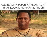 ALL BLACK PEOPLE HAVE AN AUNT  THAT LOOK LIKE MANNIE FRESH  davie dave Follow up post blackpeople 😂 cc: @robcnow