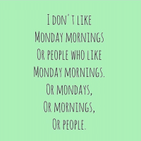 I DON'T LIKE  MONDAY MORNINGS  OR PEOPLE WHO LIKE  MONDAY MORNINGS  OR MONDAYS.  OR MORNINGS,  OR PEOPLE 👆👍 I've got that Monday feeling.