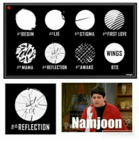 Love, Wings, and Bts:  #1BEGIN  #2LIE  #*STIGMA  #4 FIRST LOVE  WINGS  #sMAMA #OREFLECTION #7AWAKE  BTS  Najiljoon  #ô REFLECTION