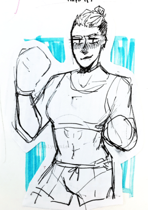 Target, Tumblr, and Blog: 1e bubblyernie:  a boxer lady. i made after like a fem version of my oc andrew. art tag // commission info