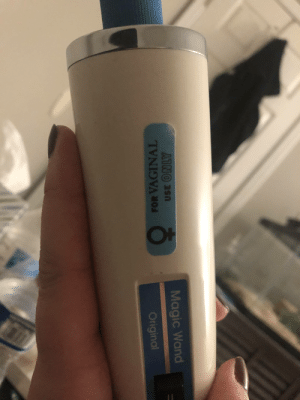 I used a pharmacy sticker to customize my hitachi wand.: 1F  AINO asn  Magic Wand  FOR VAGINAL  Original I used a pharmacy sticker to customize my hitachi wand.