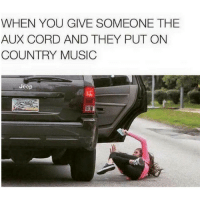 Beat it, nerd.: WHEN YOU GIVE SOMEONE THE  AUX CORD AND THEY PUT ON  COUNTRY MUSIC  Jeep Beat it, nerd.