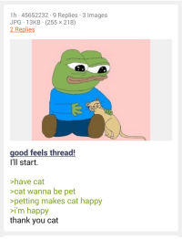 4chan, Thank You, and Good: 1h 45652232 9 Replies 3 Images  JPG 13KB (255 x 218)  2 Replies  good feels thread!  I'll start.  >have cat  >cat wanna be pet  petting makes cat happy  i'm happy  thank you cat <p>Wholesome 4chan.</p>