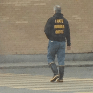 "anthonydarling: wordcubed:  julianshrike:  muldor:  ""Do I contradict myself? Very well, then I contradict myself, I am large, I contain multitudes."" -Walt Whitman  This has 200k notes but none of you know the truth of the I Hate Rubber Boots Guy. This man lives in my city. He wears this outfit constantly. The Weird Toronto photo group has a ban on posting him because he's always like this.  He has done this for years. Every so often he buys a taller pair of rubber boots.    #you can tell this is an old photo by the height of his boots     : 1HATE  RUBBER anthonydarling: wordcubed:  julianshrike:  muldor:  ""Do I contradict myself? Very well, then I contradict myself, I am large, I contain multitudes."" -Walt Whitman  This has 200k notes but none of you know the truth of the I Hate Rubber Boots Guy. This man lives in my city. He wears this outfit constantly. The Weird Toronto photo group has a ban on posting him because he's always like this.  He has done this for years. Every so often he buys a taller pair of rubber boots.    #you can tell this is an old photo by the height of his boots"