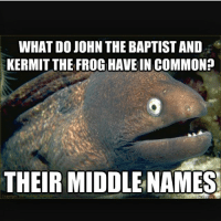 BaptistMemes: WHAT DO JOHN THE BAPTIST AND  KERMIT THE FROG HAVE INCOMMONP  THEIR MIDDLE NAMES BaptistMemes