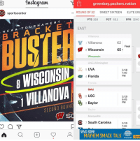 Memes, 🤖, and South Carolina: 1nstaguam  Tll greenbay packers nation  ROUND OF 32  SWEET SIXTEEN  ELITE EIG  SOC sportscenter  PPR 1540  PTS 260  PCT  65.1  O U R N A M E N T  BUSTER  EAST  Villanova  V 1 Villanova  62  Final  W 65  8 Wisconsin  Wisconsin  3/18  7:40  PM  et 4 Florida  3/19  6:45  3 Baylor  SECOND ROUND  Baylor  PM  Sd  7 South Carolina  3/19  7:40  SEND SOME  MAYHEM  MAYHEM SMACK TALK  Send Called it. -------------------------------------------------------- Follow @greenbay.packers.nation For More! gopackgo aaronrodgers packers greenbay greenbaypackers greenbaypackersedits greenbayedits packersedits nfledits nfl nationalfootballleague footballisfamily randallcobb davanteadams