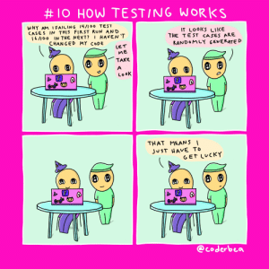Run, Test, and Programmer Humor:  #1O HOW TESTING WORKS  WHY AM I FAILING 14/I00 TEST  CASES IN THIS FIRST RUN AND  I6/100 IN THE NEXT?  IT LOOKS LIKE  THE TE ST CASES ARE  RANDOMLY GENERATED  I HAVEN'T  CHANGED MY CODE  LET  ME  TAKE  (:)  (:)  (:)  LO6K  Coods  Cordls  THAT MEANS |  JUST HAVE TO  GET LUCKY  f  Cogls  Cegls  @coderbea How testing works for me