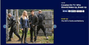 "braveprincessrebelking:Of course that Bellamy and Clarke are the number one on the ""Hook Up"" xD TvLine, you have a very good taste in couples xDCouples On TV: Who Should Make Up, Break Up and Hook Up.: 1of 40  Couples On TV: Who  Should Make Up, Break Up  f Share 130 y Tweet 565 8+1  Hook Up:  The 100's Clarke and Bellamy braveprincessrebelking:Of course that Bellamy and Clarke are the number one on the ""Hook Up"" xD TvLine, you have a very good taste in couples xDCouples On TV: Who Should Make Up, Break Up and Hook Up."
