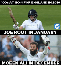 Memes, 🤖, and Roots: 1Oos AT No.4 FOR ENGLAND IN 2016  Waitrose  JOE ROOT IN JANUARY  MOEEN ALI IN DECEMBER The last time before today, England batsman scored a century at no.4 was Joe Root at Johannesburg back in January, 2016.