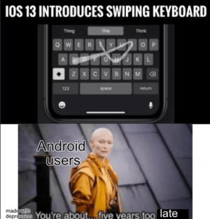 WOW really good apple: |1OS 13 INTRODUCES SWIPING KEYBOARD  Thing  This  Think  Y  wE R  O P  Pr  G H JK  A  ZXCV BNM  123  space  return  Android  users  madewith  depress on You're about... five years too late  3 WOW really good apple