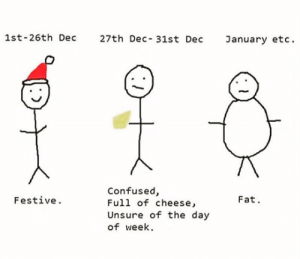 Confused, Reddit, and Target: 1st-26th Dec 27th Dec- 31st Dec anuary etc  Confused,  Full of cheese,  Unsure of the day  of week.  Festive  Fat. tastefullyoffensive:It's Tuesday, right? (via respectmyauth)