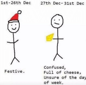 Meirl: 1st-26th Dec  27th Dec-31st Dec  Confused,  Full of cheese,  Festive.  Unsure of the day  of week. Meirl