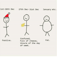 Confused and full of cheese ??? Pmsl I won't even say nothing on that......CHEESE ?!: 1st-26th Dec  27th Dec 31st Dec  January etc.  Confused,  Fat.  Festive  Full of cheese,  Unsure of the day  of week. Confused and full of cheese ??? Pmsl I won't even say nothing on that......CHEESE ?!